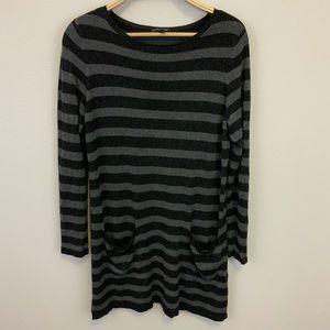 Eileen Fisher Striped T-Shirt Dress Sz M Pockets